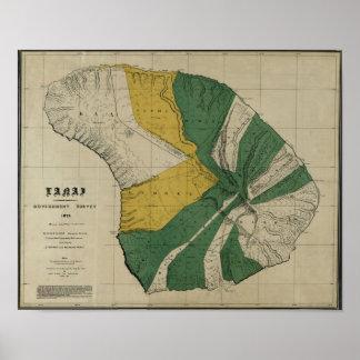 Lanai, 1878, mapa de Hawaii del vintage Póster