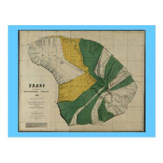 Lanai, 1878, mapa de Hawaii del vintage Postales