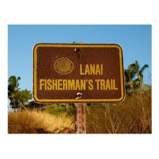 Lanai Fisherman Trail Vintage Island Sign Postcard