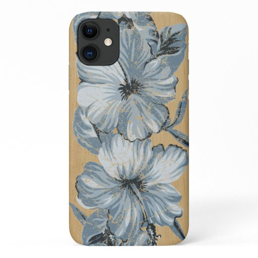 Lanai Hawaiian Blue Hibiscus Faux Wood iPhone 11 Case