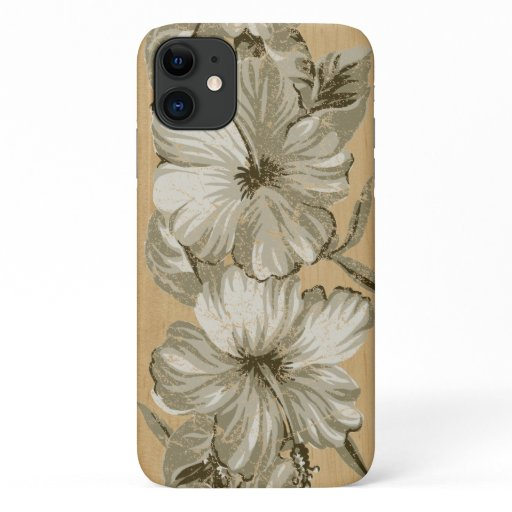 Lanai Hawaiian Hibiscus Faux Wood iPhone 11 Case