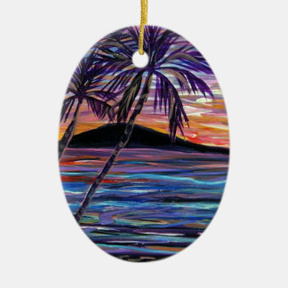 Lanai Sunset Double-Sided Oval Ceramic Christmas Ornament