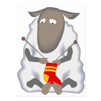 Lanas del calcetín de las ovejas que hacen punto postales