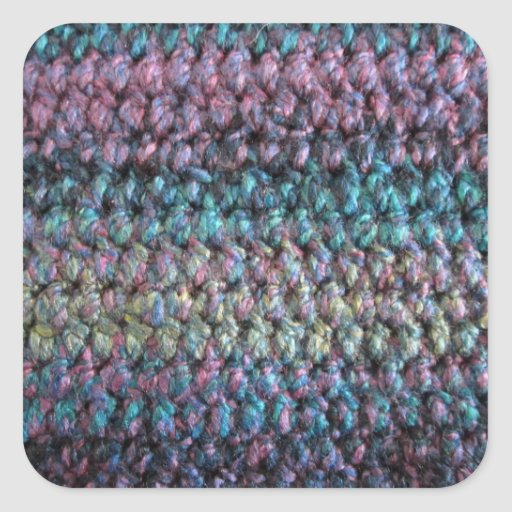 Lanas hechas punto crocheted rayadas pegatina cuadradas personalizada