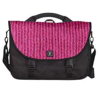 Lanas hechas punto rosa bolsa para ordenador