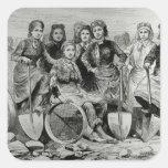 Lancashire Pit-Brow Women Square Sticker