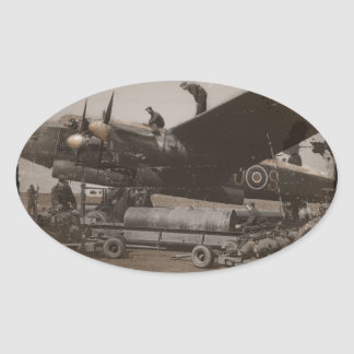 Lancaster Being Loaded with Bombs Oval Sticker