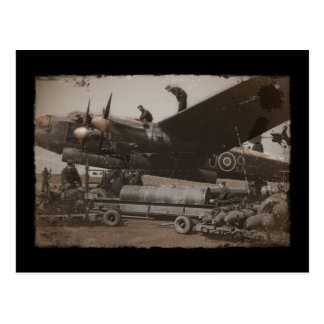 Lancaster Being Loaded with Bombs Postcard