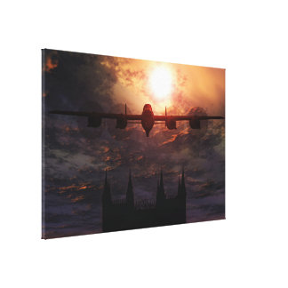 Lancaster Bomber Over Lincoln Cathedral Canvas Print