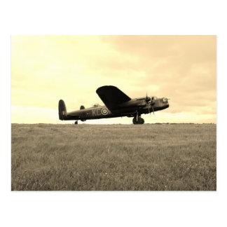 Lancaster Bomber Sepia Tone Postcard