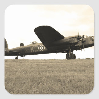 Lancaster Bomber Sepia Tone Square Sticker