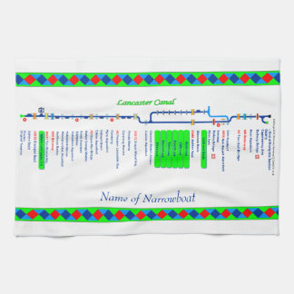 Lancaster Canal UK Inland Waterways Route Green Hand Towel