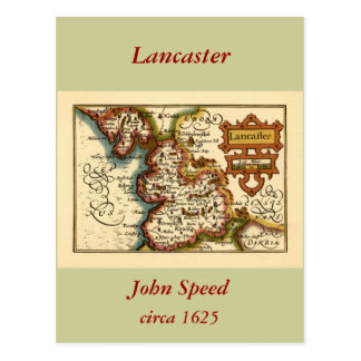 """Lancaster"" Lancashire County Map Postcard"