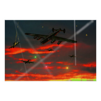 Lancaster Raid over Reich Poster