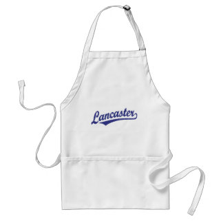 Lancaster script logo in blue distressed adult apron