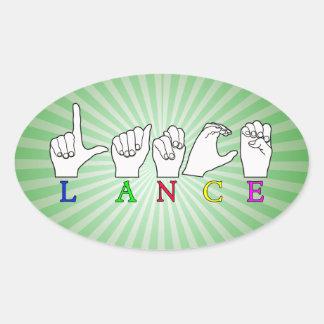 LANCE FINGERSPELLED ASL NAME SIGN MALE OVAL STICKER