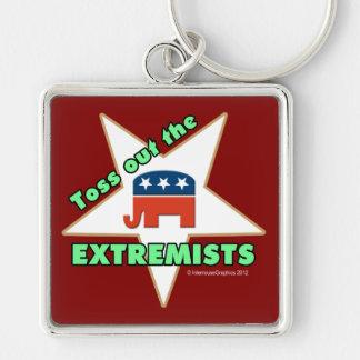 ¡Lance hacia fuera a los EXTREMISTAS republicanos! Llavero Cuadrado Plateado