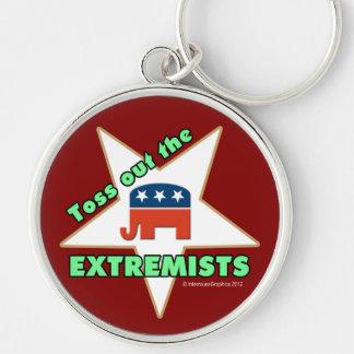 ¡Lance hacia fuera a los EXTREMISTAS republicanos! Llavero Redondo Plateado