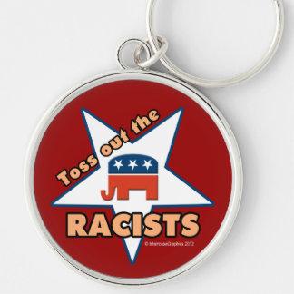 ¡Lance hacia fuera a los RACISTAS republicanos! Llavero Redondo Plateado