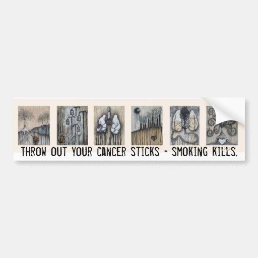Lance hacia fuera sus palillos del cáncer - matanz pegatina para auto