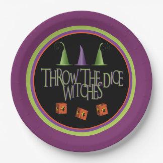 Lance la placa de Bunco de las brujas de los dados Plato De Papel De 9 Pulgadas