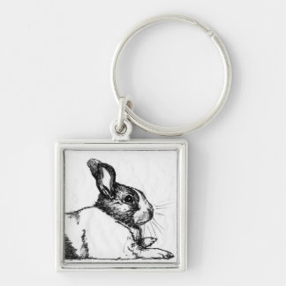 Lance the Unamused Bunneh Silver-Colored Square Keychain