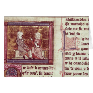 Lancelot and Guinevere sit and talk Card