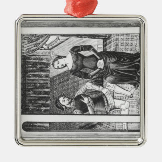 Lancelot and Guinivere Square Metal Christmas Ornament