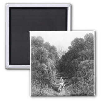 Lancelot approaches the Castle at Astolat 2 Inch Square Magnet