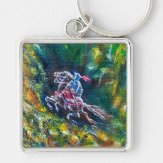 LANCELOT RIDING IN GREEN FOREST Silver-Colored SQUARE KEYCHAIN