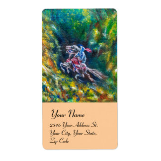 LANCELOT RIDING IN GREEN FOREST LABEL