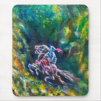 LANCELOT RIDING IN GREEN FOREST MOUSE PAD