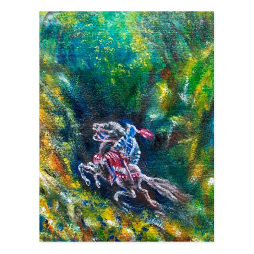 LANCELOT RIDING IN GREEN FOREST POST CARDS