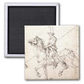 Lancer on Horseback by Albrecht Durer 2 Inch Square Magnet