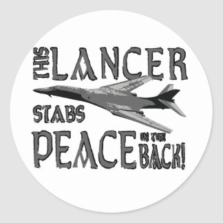 Lancer Stabs Peace in the Back Classic Round Sticker