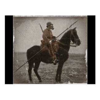 Lancero alemán a caballo postal