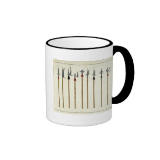 Lances, spears, halberds and partisanes, plate fro coffee mugs