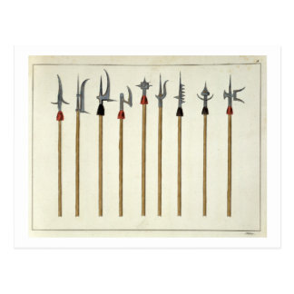 Lances, spears, halberds and partisanes, plate fro postcard