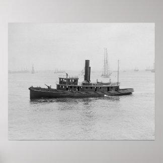 Lancha contraincendios en Boston Harbor, 1906 Impresiones