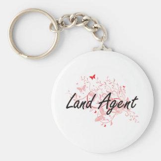 Land Agent Artistic Job Design with Butterflies Basic Round Button Keychain