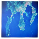 Land and Sea from Space Large Square Tile