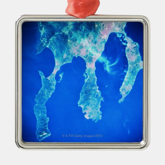 Land and Sea from Space Metal Ornament