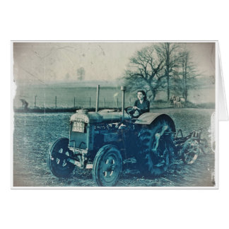 Land Army Woman Driving a Tractor Card
