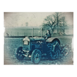 Land Army Woman Driving a Tractor Postcard