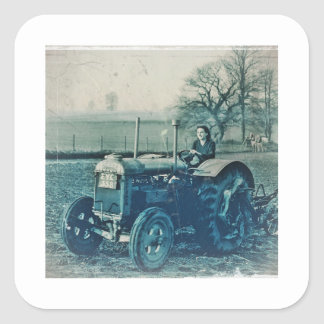Land Army Woman Driving a Tractor Square Sticker