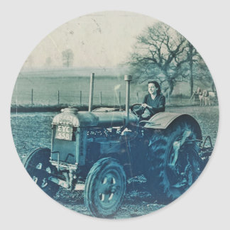 Land Army Woman Driving a Tractor Classic Round Sticker