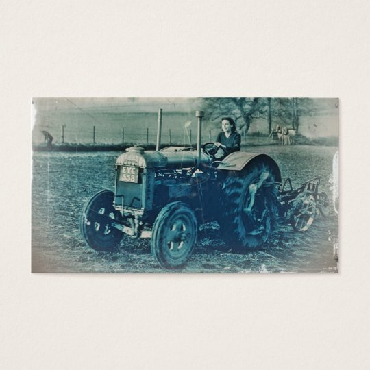 Land Army Woman Driving Tractor Business Card