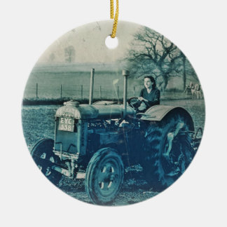 Land Army Woman Driving Tractor Ceramic Ornament