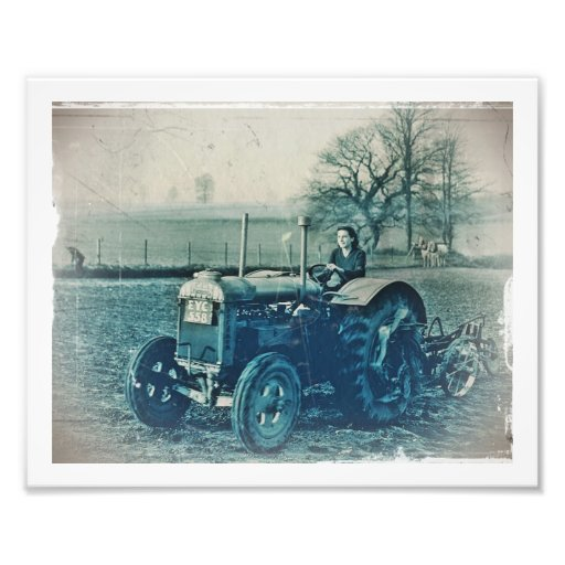 Land Army Woman Driving Tractor Photo Print