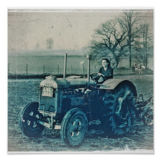 Land Army Woman Driving Tractor Poster